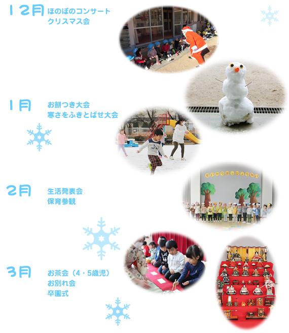 12月ふゆのお楽しみ会・1月寒さをふきとばせ大会・2月豆まき大会、なごみ発表会・3月わくわく遠足、そつえん式